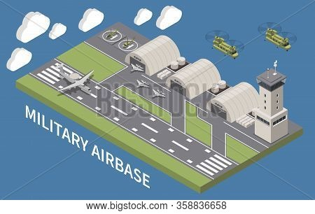 Military Airbase Airfield Aerodrome Facility With Hangars Traffic Control Tower Landing Aircraft Fly