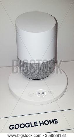 Bordeaux , Aquitaine / France - 11 07 2019 : Google Home Virtual Voice Assistant In Shop For Sale