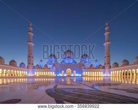 Sheikh Zayed Grand Mosque Center, Abu Dhabi. The Largest Mosque In United Arab Emirates Or Uae. Musl