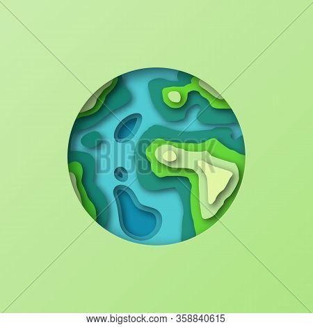 Earth Symbol In Paper Cut Style. Diy Stylized Eco Earth Planet Postcard Background. 3d Paper Cut Ast