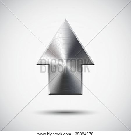 Up arrow sign with realistic metal (silver, chrome, steel) texture, light background and shadow for web sites and interfaces. poster