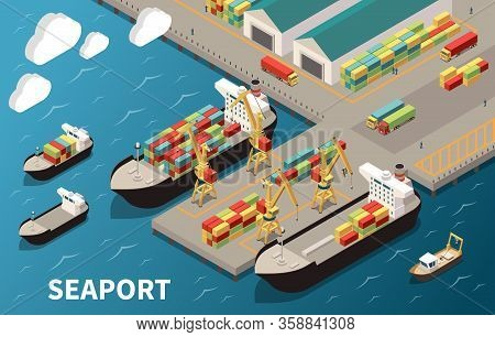 Seaport Terminal Isometric Composition With Loading Unloading Container Vessels Cargo Carriers Crane