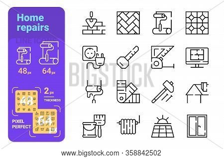 Home Repairs Icons Set Vector Illustration. Collection Of Bricklaying, Tile Laying, Wall Painting, H