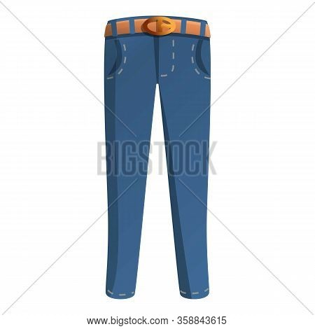 Denim Jeans Pants Icon. Cartoon Of Denim Jeans Pants Vector Icon For Web Design Isolated On White Ba