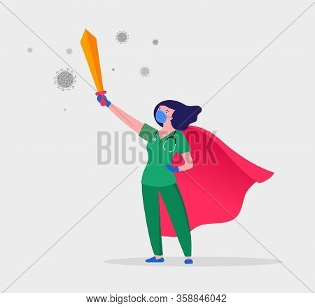 Super Doctor And Nurse Wearing Medical Masks And Capes, Superhero Couple, Vector Cartoon Illustratio