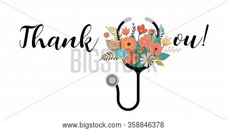 Thank You, Doctor And Nurse - Covid-19 Pandemic Concept, Vector Illustration Stock Illustration
