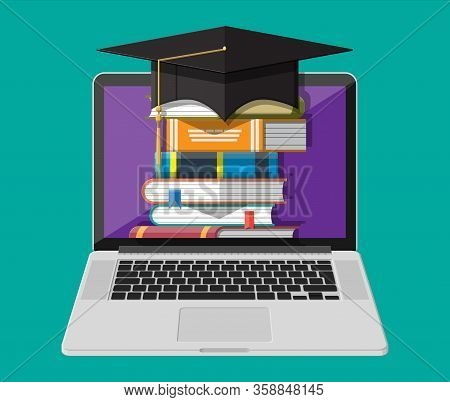 Notebook, Hat And Stack Of Book. Online Education Concept. Distance Learning. Online Courses, Study
