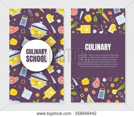 Cooking Class Card Template With Kitchen Utensils Seamless Pattern, Culinary Course O School Design