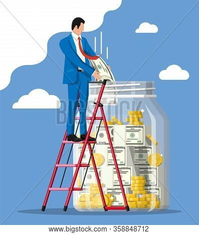 Businessman Putting Gold Dollar Banknote In Moneybox. Glass Money Jar Full Of Money. Growth, Income,