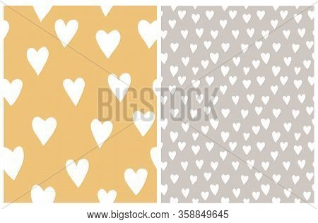 Simple Heart Vector Patterns. Irregular Hand Drawn Pastel Color Romantic Print For Fabric, Textile,