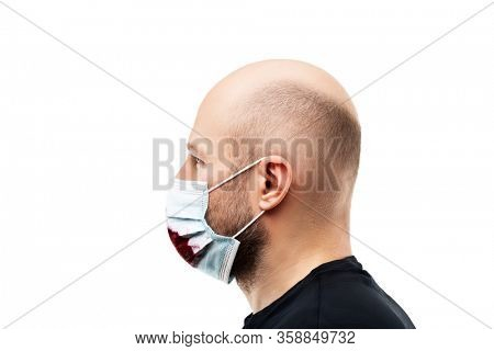 bald head man wearing bloody cough respiratory protective medical mask white isolated