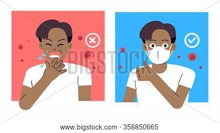 Comparing Man Good Healthy With Wearing Protect Mask And Bad Man Sneeze In Public.vector Illustratio