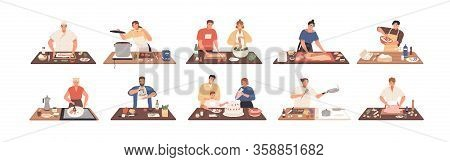 Smiling People Cooking On Kitchen Table Set Vector Flat Illustration. Collection Of Various Cartoon