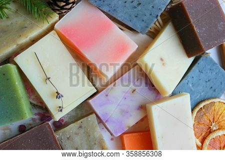 Colorful Handmade Soap Concept. Natural Handmade Soap On A Wooden Background.handmade Natural Eco So