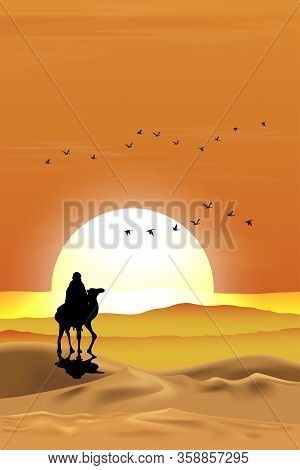 Vector Illustration Arab Man With Camel Walking In Desert Sands With Sunset In Evening,vertical Land