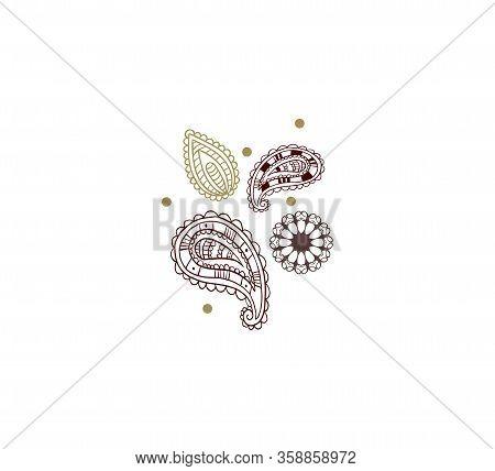 Oriental Decorative Pattern, Mehendi Mandala On A White Isolated Background - Vector Illustration