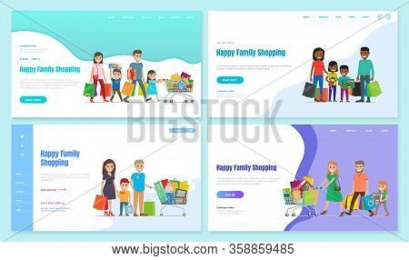 Collection Of Shopping Families. Shopaholic Characters Mother And Father With Kids With Bought Bags.