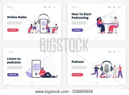Flat Vector Illustrations For Landing Page Templates. A Listener With Headphones. Man And Woman Star