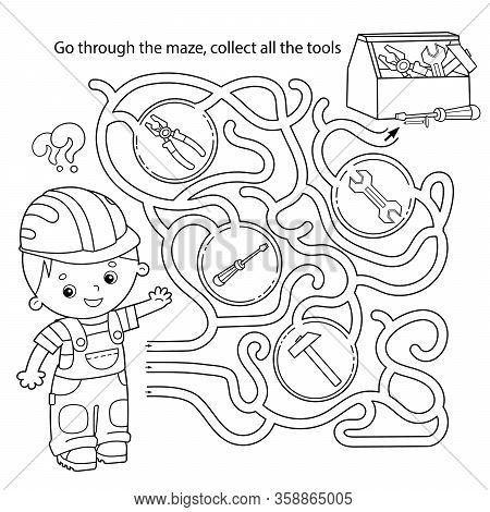 Maze or Labyrinth Game for Preschool Children. Puzzle. Tangled Road. Matching Game. Coloring Page Outline Of Cartoon Worker with tools. Coloring book for kids.