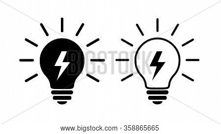 Two Light Bulb Flat Icons, Black And Linear. Lighting Electric Lamp With Lightning Inside And Rays,