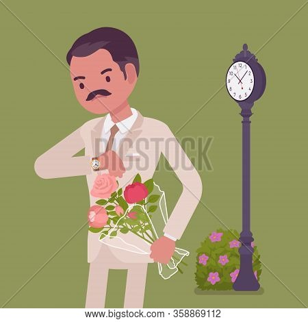 Man Waiting At The Romantic Date, Checking Time. Elegant Boyfriend With Flower Bouquet, Unhappy Lone