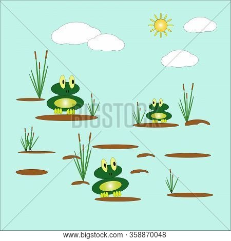 Vector Illustration With Two Cute Funny Frogs Sitting On Tussocks In A Pond, Among Reeds Against The