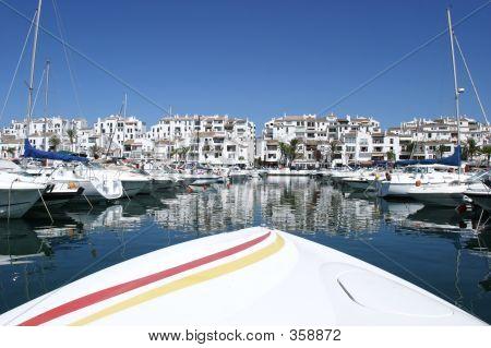 Front Of Luxury Speedboat Heading Into Port