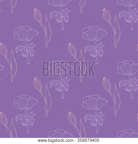 Seamless Pattern With Exquisite Light Pink Tulips And Light Violet Anemone Flowers On Violet Backgro