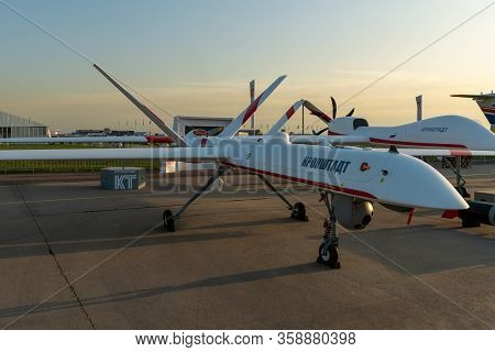 August 30, 2019. Zhukovsky, Russia. Russian Unmanned Aerial Vehicle (uav) Long-duration Flight Devel