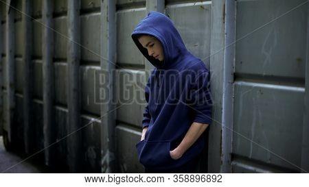 Homeless Boy Wandering In Cold Dark Backstreet, Lost In Life, Awkward Age