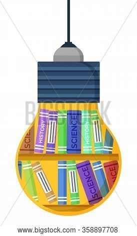 Light Bulb Shape With Science And History Books. Creative Idea And Learning Technology With Library