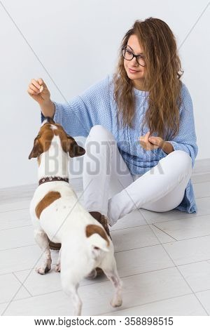 Dog Carrying Bags And Pets Owner Concept - Attractive Cheerful Female In Blue Sweater Playing With H