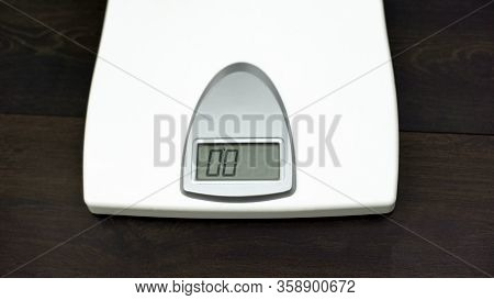 Top View Scales Standing On Floor, Weightloss, Properly Nutrition, Dieting