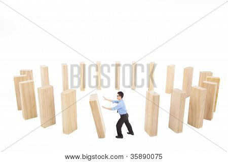 Businessman Push Down The Wall In Circle. Business Loop Conc