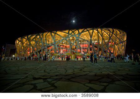 Olympic Birds Nest Stadium And Moon