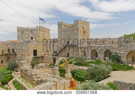 Jerusalem, Israel - May 18, 2016: View Of The Archaeological Finds In Courtyard Of The Tower Of Davi