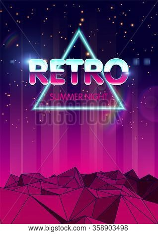 Retro Future In 1980 Style. Futuristic Flyer Or Music Album Cover. Sci-fi Background. 80s Party Back