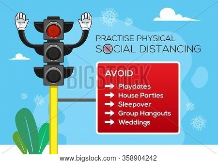 An Illustration Of A Traffic Light With A Red Light On Symbolizes A Social Distancing Concept