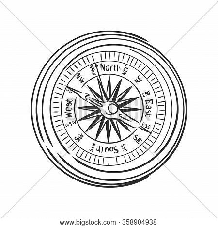 Hand Draw Compass Sketched Compass White Isolated. Compass On White Background, Compass Icon, Sketch