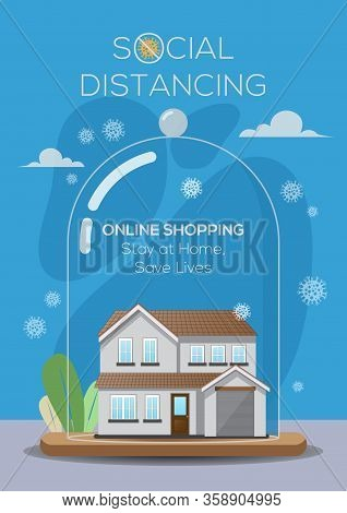 An Illustration Of A House Practicing Social Distancing Concept