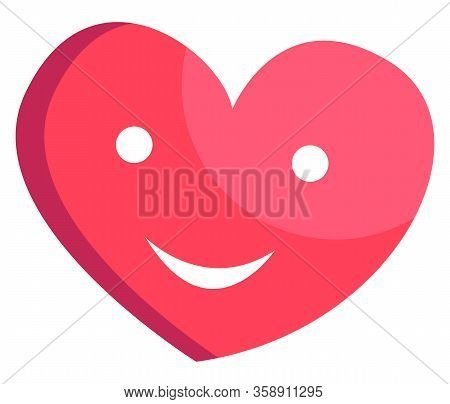 Heart Balloon Emoticon In Love Vector, Isolated Decoration With Eyes And Mouth. Photozone Element, A