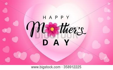 Happy Mothers Day Elegant Text, Hearts Flying On Pink Background. Vector Typography For Mother Day W