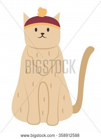 Furry Cat Wearing Funny Hat, Isolated Feline Creature With Coat Sitting Still. Resting Pet With Tail