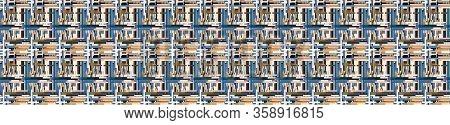 Distorted Glitch Graphic Criss Cross Stripe Seamless Border Pattern. Modern Distressed Line Banner B