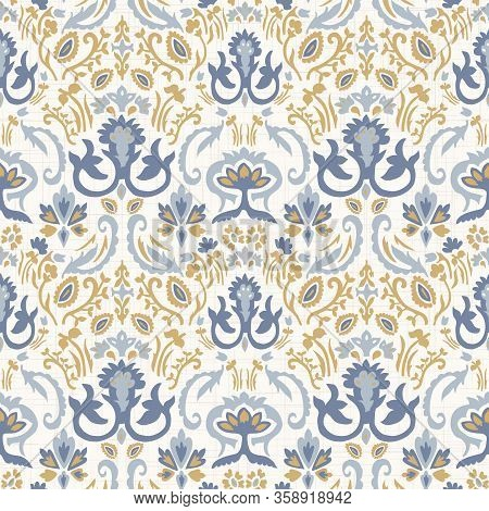 French Blu Shabby Chic Damask Vector Texture Background. Antique White Yellow Blue Seamless Pattern.
