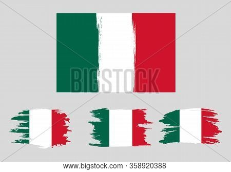 Set Mexico Flags. Brush Painted Mexico Flags Hand Drawn Style Illustration With A Grunge Effect And
