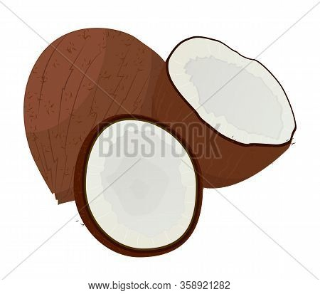 Coconut Hair Oil Vegetarian Ingredient Isolated On White. Half Coco In Wooden Shell Natural Cosmetic