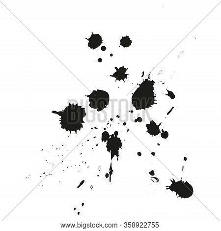 Paint Splatter Background. Grunge Distress Calligraphy Ink Stains. Black Ink Blow Explosion. Splatte