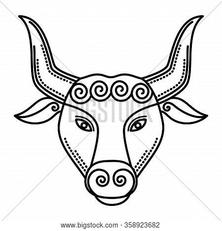 Second Astrological Sign, Taurus Associated With Constellation. Zodiac Represented By Symbol Of Bull