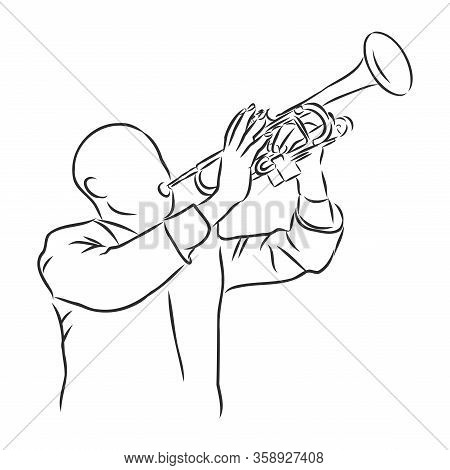 Trumpeter Playing The Trumpet, Musician, Vector Sketch Illustration